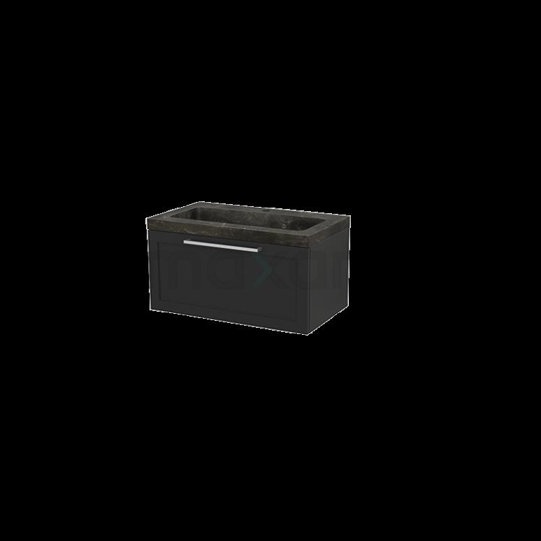 Badkamermeubel 80cm Modulo+ Carbon 1 Lade Kader Wastafel Natuursteen Blue Stone