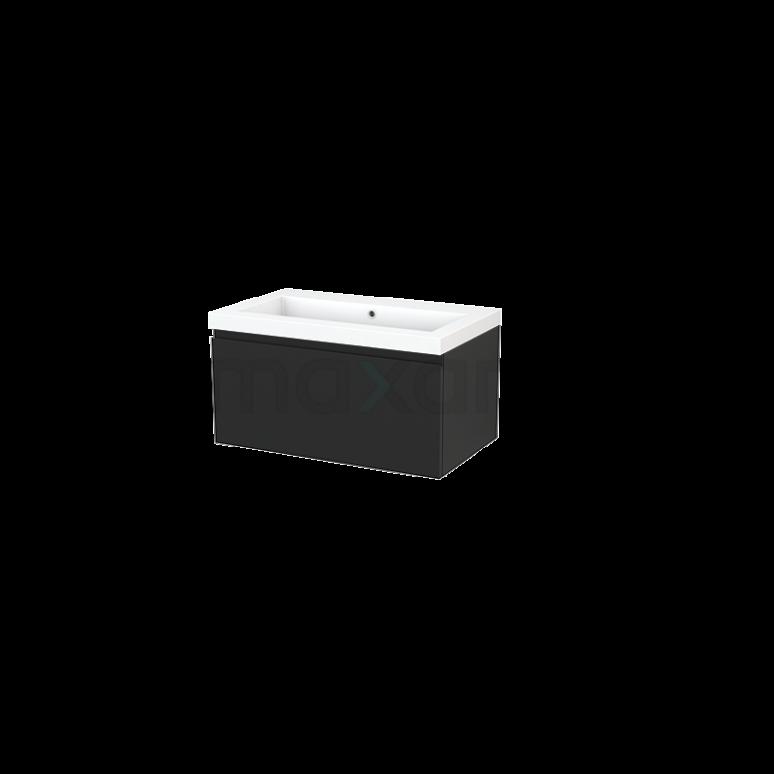 Badkamermeubel 80cm Modulo+ Carbon 1 Lade Greeploos Wastafel Mineraalmarmer