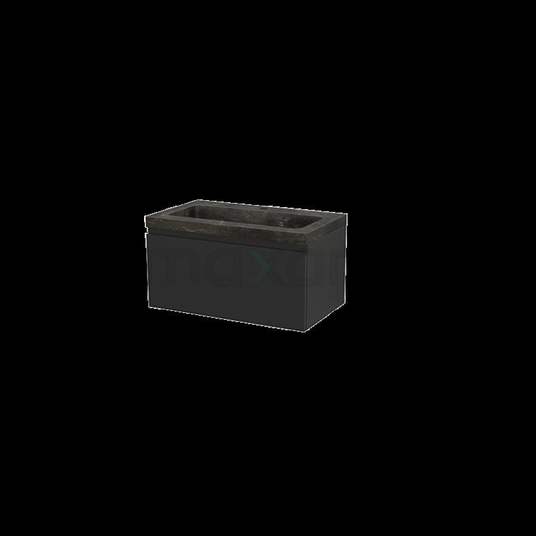 Badkamermeubel 80cm Modulo+ Carbon 1 Lade Greeploos Wastafel Natuursteen Blue Stone