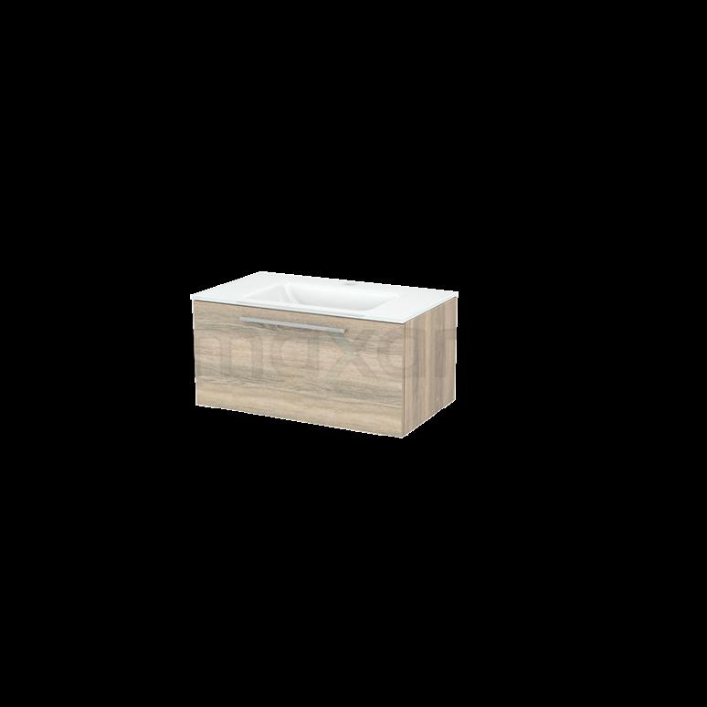 Badkamermeubel 80cm Modulo+ Eiken 1 Lade Vlak Wastafel Glas