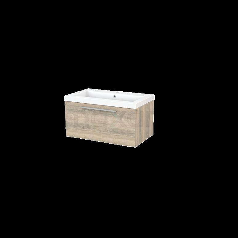 Badkamermeubel 80cm Modulo+ Eiken 1 Lade Vlak Wastafel Mineraalmarmer