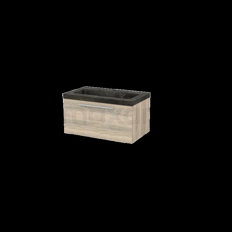 Badkamermeubel 80cm Modulo+ Eiken 1 Lade Vlak Wastafel Natuursteen Blue Stone