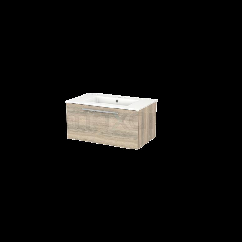Badkamermeubel 80cm Modulo+ Eiken 1 Lade Vlak Wastafel Keramiek