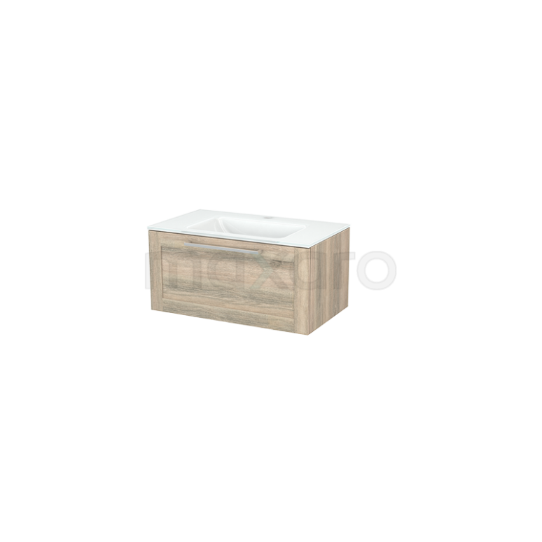 Badkamermeubel 80cm Modulo+ Eiken 1 Lade Kader Wastafel Glas