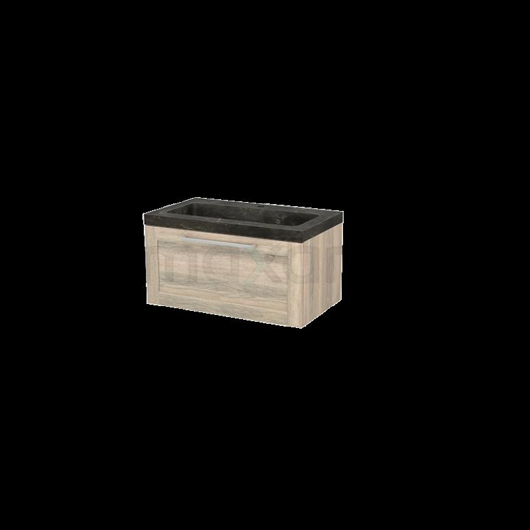 Badkamermeubel 80cm Modulo+ Eiken 1 Lade Kader Wastafel Natuursteen Blue Stone