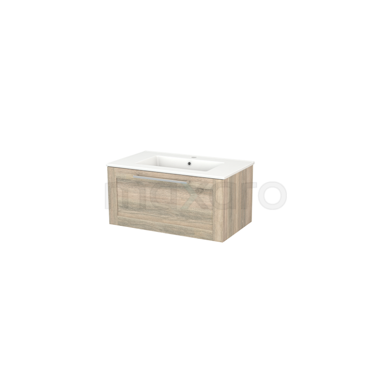 Badkamermeubel 80cm Modulo+ Eiken 1 Lade Kader Wastafel Keramiek