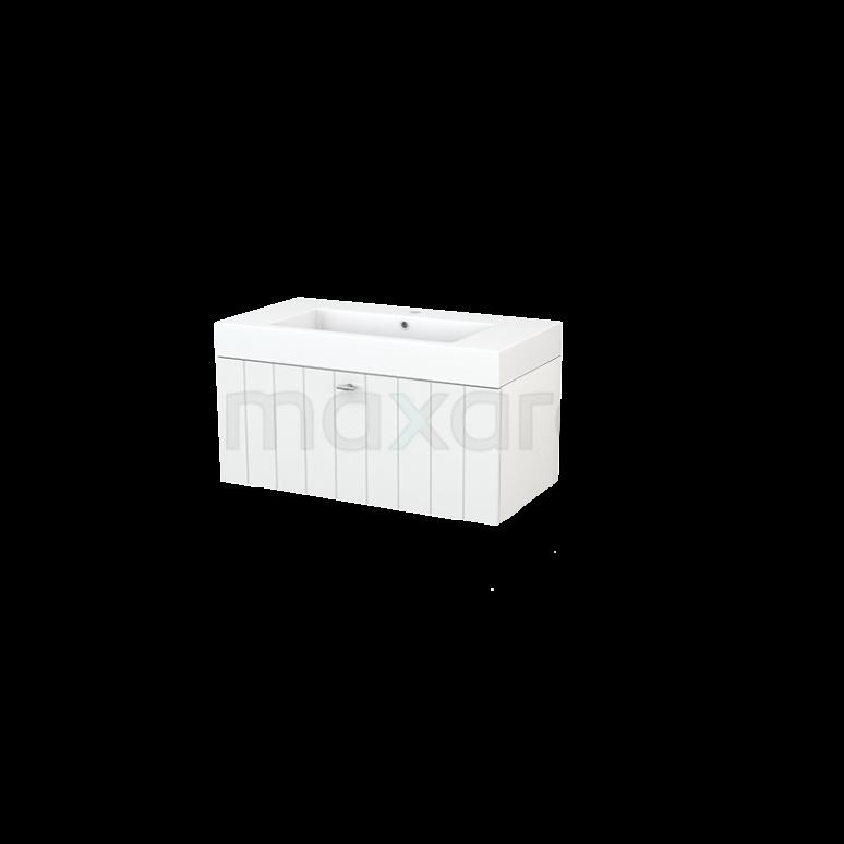 Badkamermeubel 90cm Modulo+ Hoogglans Wit 1 Lade Lamel Wastafel Mineraalmarmer