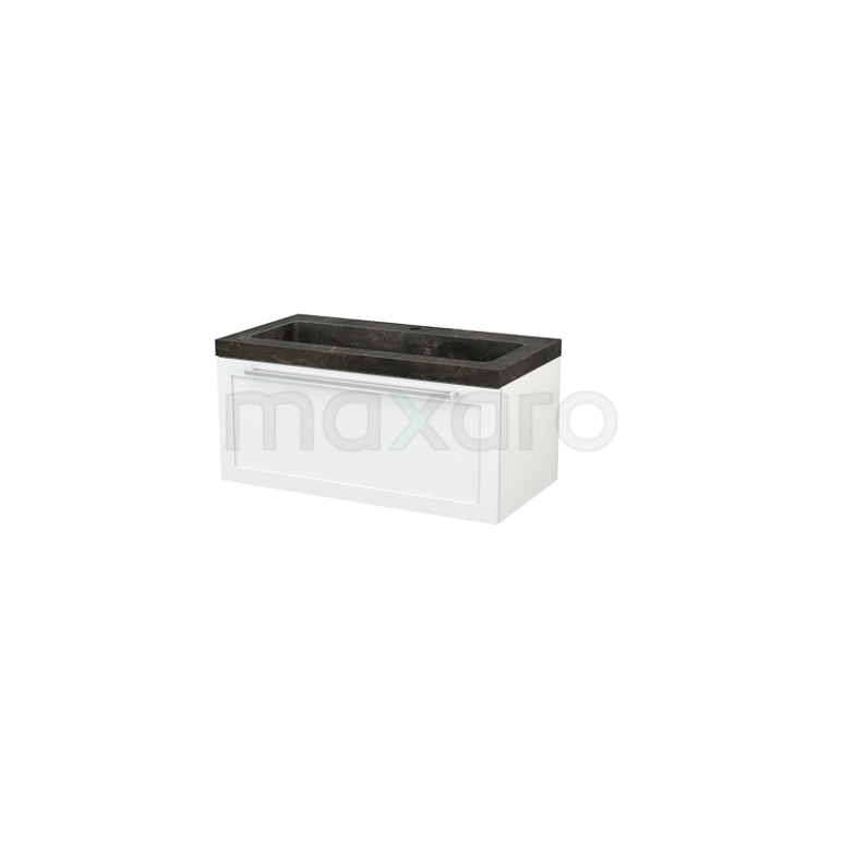 Badkamermeubel 90cm Modulo+ Hoogglans Wit 1 Lade Kader Wastafel Natuursteen Blue Stone