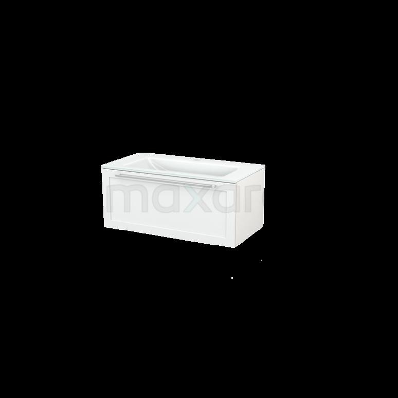 Badkamermeubel 90cm Modulo+ Hoogglans Wit 1 Lade Kader Wastafel Glas