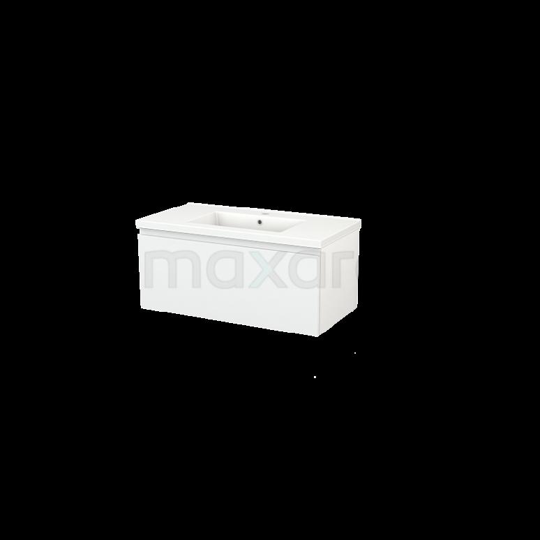 Maxaro Modulo+ BMP001618 Badkamermeubel 90cm Modulo+ Hoogglans Wit 1 Lade Greeploos Keramiek