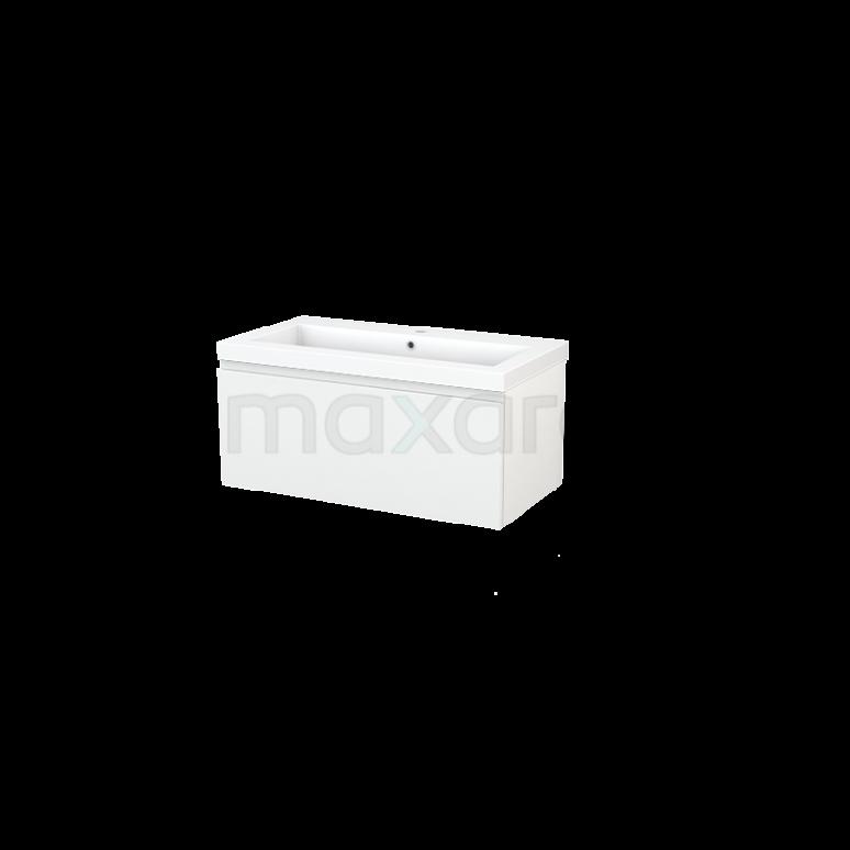 Badkamermeubel 90cm Modulo+ Hoogglans Wit 1 Lade Greeploos Wastafel Mineraalmarmer