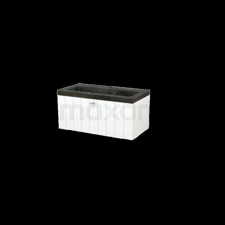 Badkamermeubel 90cm Modulo+ Mat Wit 1 Lade Lamel Wastafel Natuursteen Blue Stone