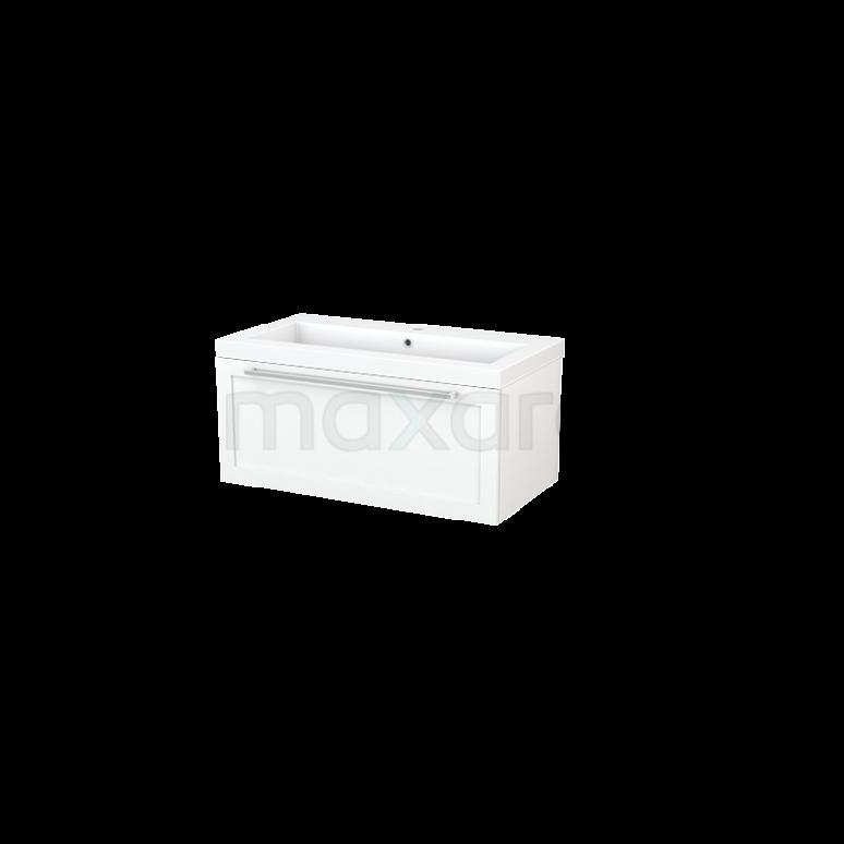 Badkamermeubel 90cm Modulo+ Mat Wit 1 Lade Kader Wastafel Mineraalmarmer