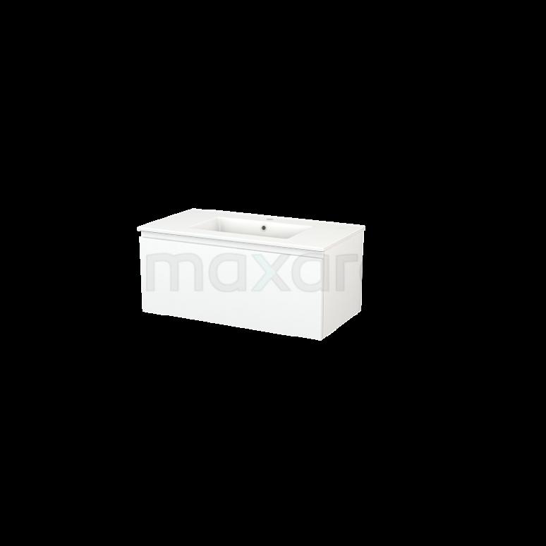 Maxaro Modulo+ BMP001652 Badkamermeubel 90cm Modulo+ Mat Wit 1 Lade Greeploos Keramiek