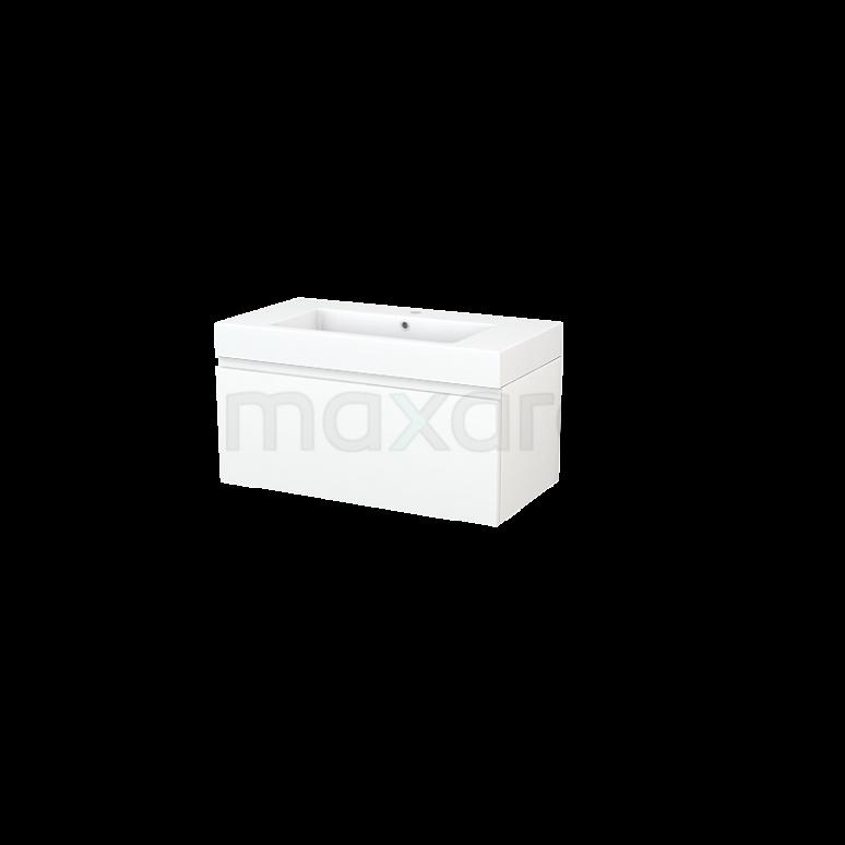 Badkamermeubel 90cm Modulo+ Mat Wit 1 Lade Greeploos Wastafel Mineraalmarmer