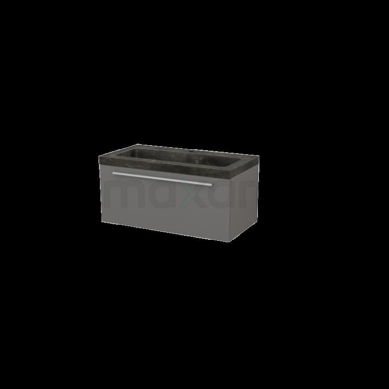 Badkamermeubel 90cm Modulo+ Basalt 1 Lade Vlak Wastafel Natuursteen Blue Stone
