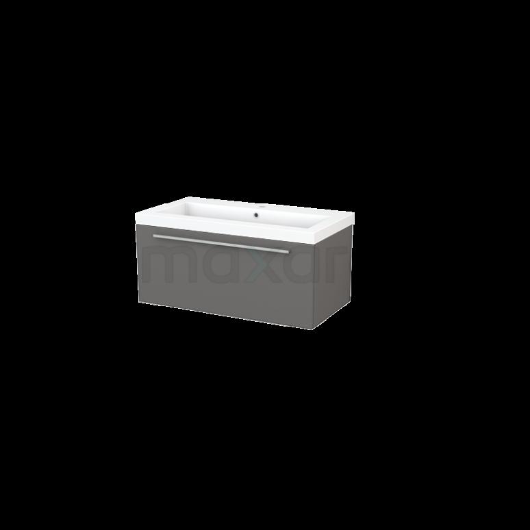 Badkamermeubel 90cm Modulo+ Basalt 1 Lade Vlak Wastafel Mineraalmarmer