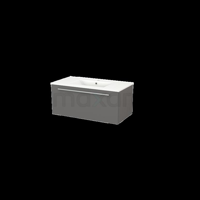 Badkamermeubel 90cm Modulo+ Basalt 1 Lade Vlak Wastafel Keramiek