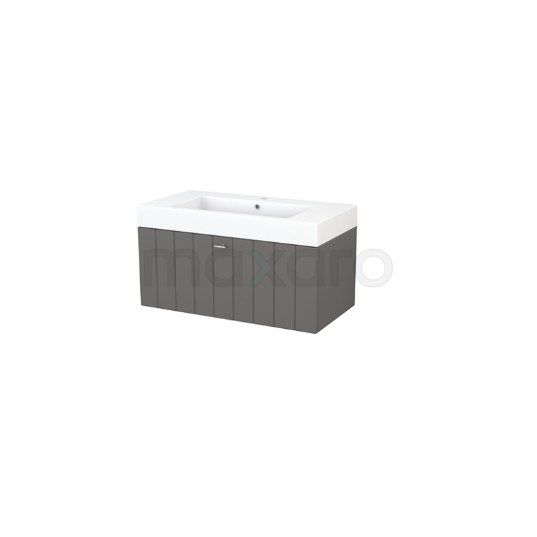 Maxaro Modulo+ BMP001669 Badkamermeubel 90cm Modulo+ Basalt 1 Lade Lamel Wastafel Mineraalmarmer