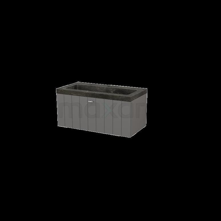 Badkamermeubel 90cm Modulo+ Basalt 1 Lade Lamel Wastafel Natuursteen Blue Stone