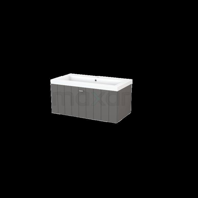 Badkamermeubel 90cm Modulo+ Basalt 1 Lade Lamel Wastafel Mineraalmarmer