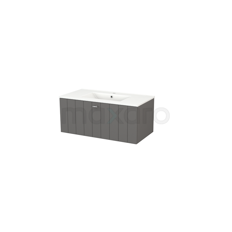 Badkamermeubel 90cm Modulo+ Basalt 1 Lade Lamel Wastafel Keramiek
