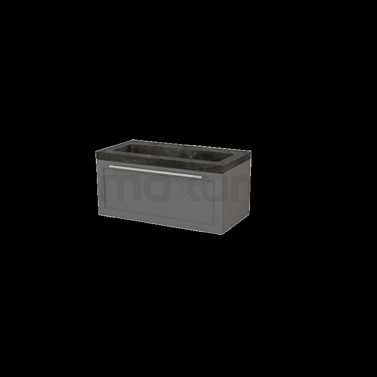 Badkamermeubel 90cm Modulo+ Basalt 1 Lade Kader Wastafel Natuursteen Blue Stone