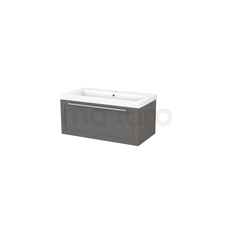 Badkamermeubel 90cm Modulo+ Basalt 1 Lade Kader Wastafel Mineraalmarmer