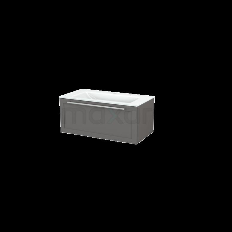 Badkamermeubel 90cm Modulo+ Basalt 1 Lade Kader Wastafel Glas