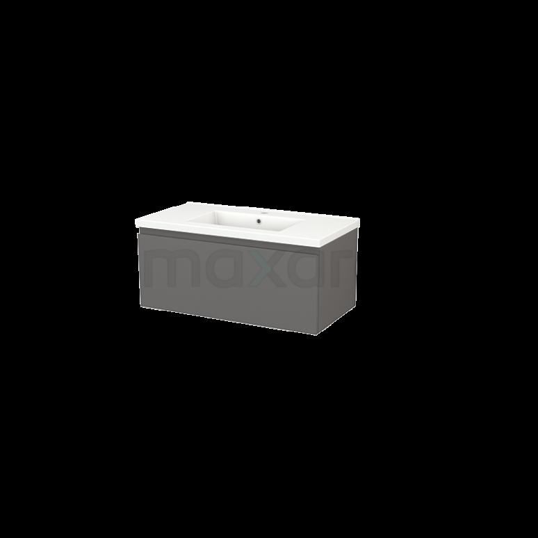 Badkamermeubel 90cm Modulo+ Basalt 1 Lade Greeploos Wastafel Keramiek