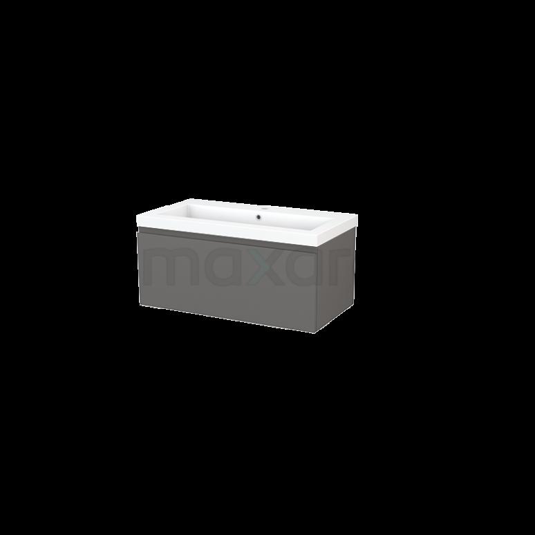 Badkamermeubel 90cm Modulo+ Basalt 1 Lade Greeploos Wastafel Mineraalmarmer