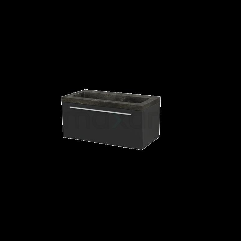 Badkamermeubel 90cm Modulo+ Carbon 1 Lade Vlak Wastafel Natuursteen Blue Stone