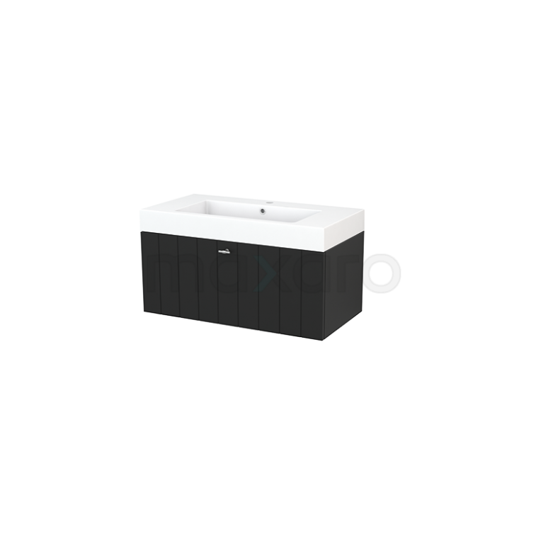 Badkamermeubel 90cm Modulo+ Carbon 1 Lade Lamel Wastafel Mineraalmarmer