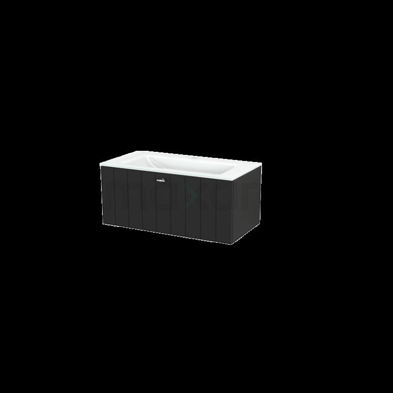 Badkamermeubel 90cm Modulo+ Carbon 1 Lade Lamel Wastafel Glas