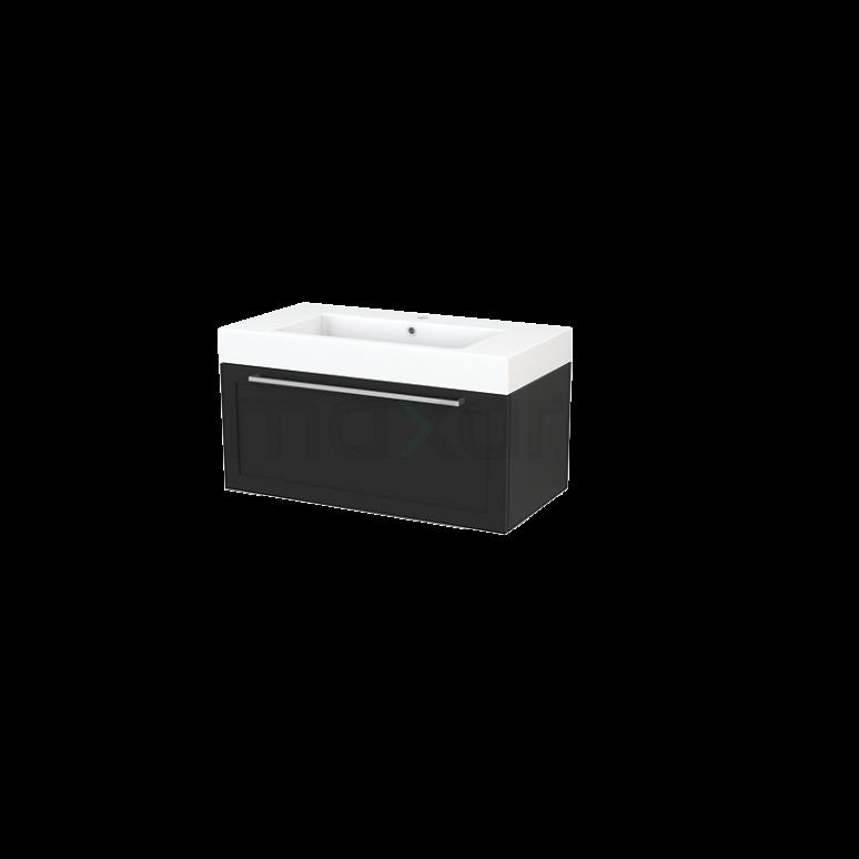 Badkamermeubel 90cm Modulo+ Carbon 1 Lade Kader Wastafel Mineraalmarmer