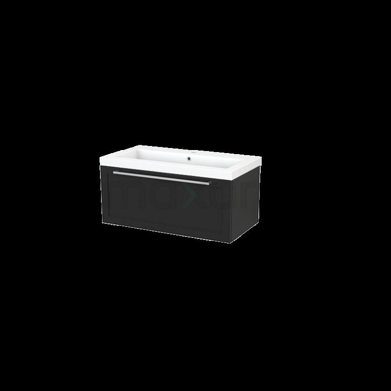 Maxaro Modulo+ BMP001711 Badkamermeubel 90cm Modulo+ Carbon 1 Lade Kader Wastafel Mineraalmarmer