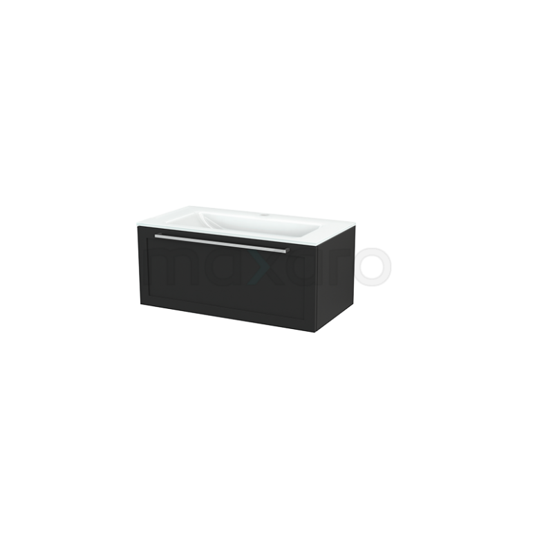 Badkamermeubel 90cm Modulo+ Carbon 1 Lade Kader Wastafel Glas