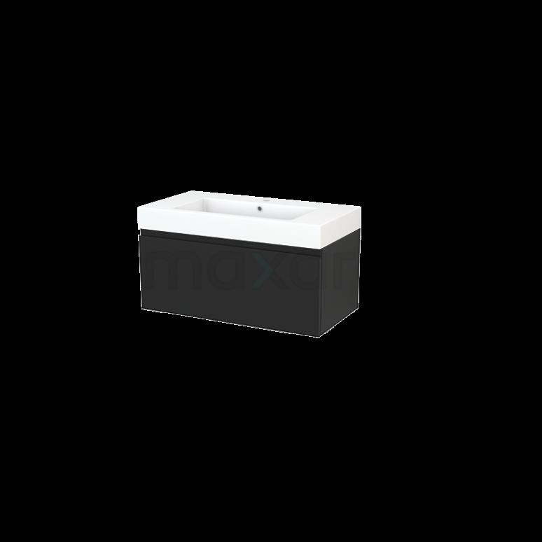 Badkamermeubel 90cm Modulo+ Carbon 1 Lade Greeploos Wastafel Mineraalmarmer