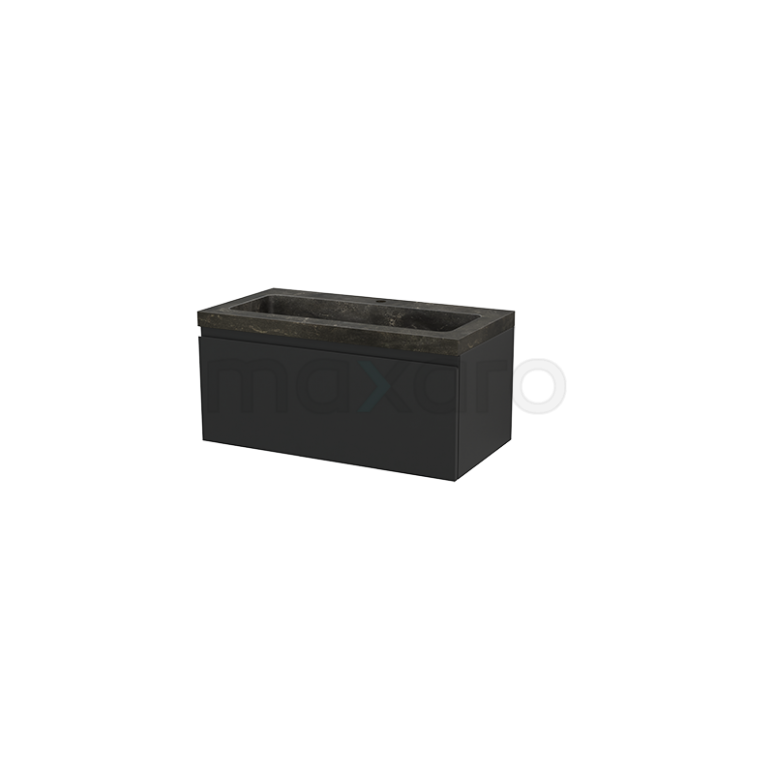Badkamermeubel 90cm Modulo+ Carbon 1 Lade Greeploos Wastafel Natuursteen Blue Stone