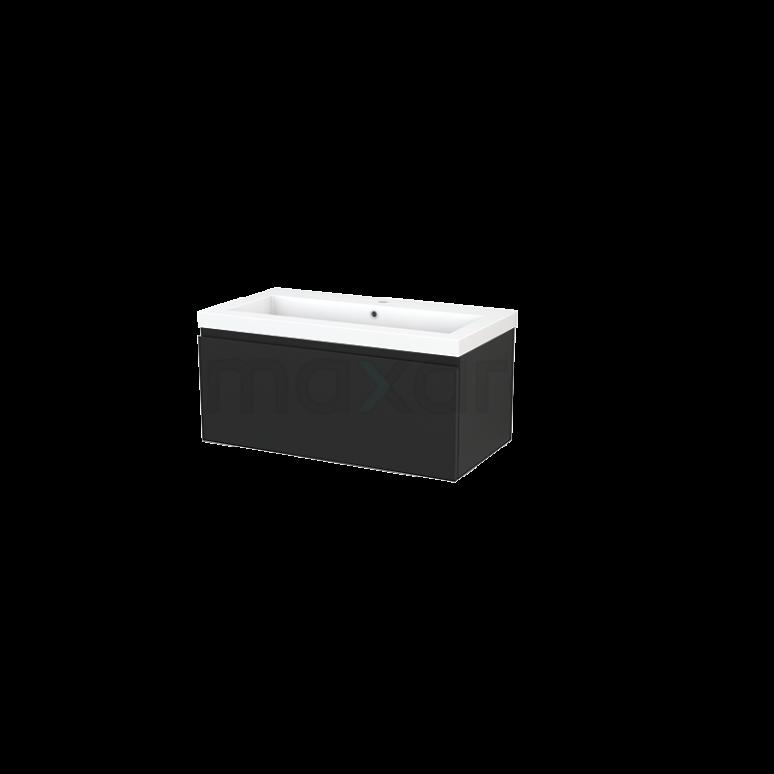 Maxaro Modulo+ BMP001719 Badkamermeubel 90cm Modulo+ Carbon 1 Lade Greeploos Wastafel Mineraalmarmer