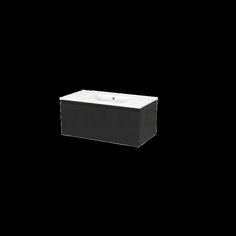 Badkamermeubel 90cm Modulo+ Carbon 1 Lade Greeploos Wastafel Keramiek