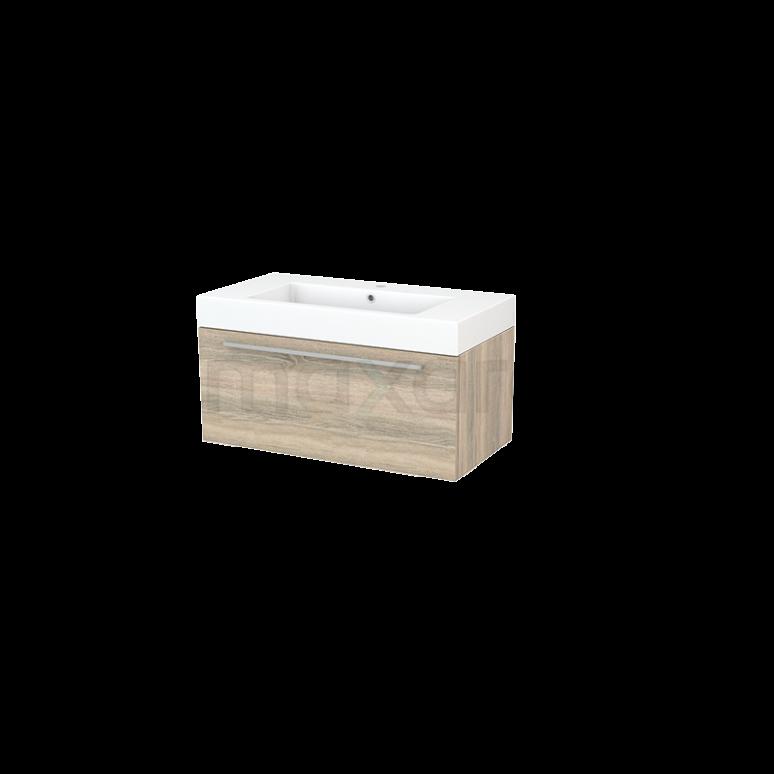 Badkamermeubel 90cm Modulo+ Eiken 1 Lade Vlak Wastafel Mineraalmarmer