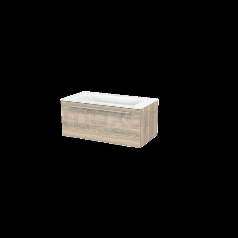 Badkamermeubel 90cm Modulo+ Eiken 1 Lade Vlak Wastafel Glas
