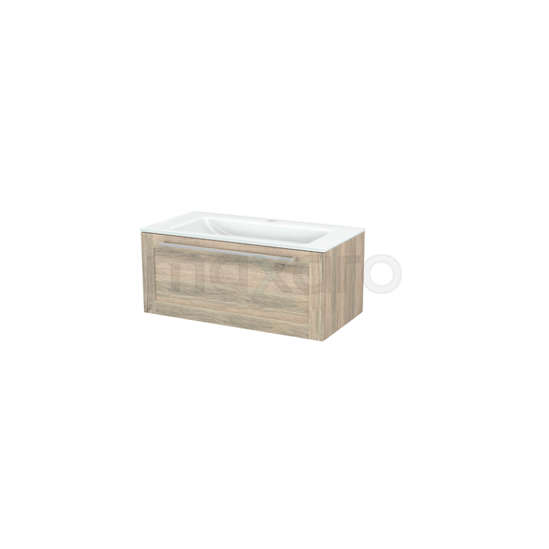 Badkamermeubel 90cm Modulo+ Eiken 1 Lade Kader Wastafel Glas