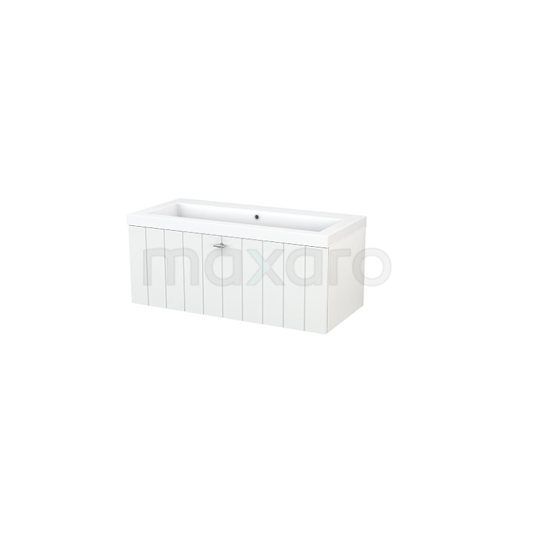 Maxaro Modulo+ BMP001783 Badkamermeubel 100cm Modulo+ Hoogglans Wit 1 Lade Lamel Mineraalmarmer