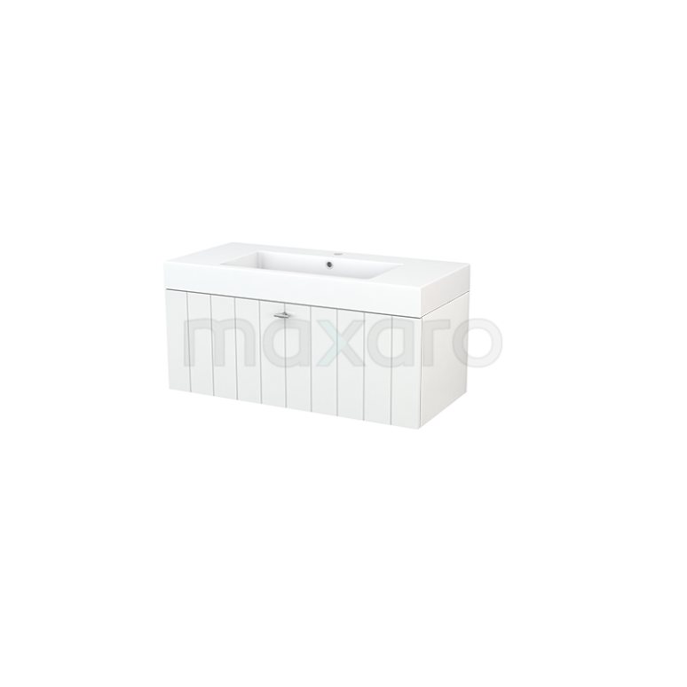 Maxaro Modulo+ BMP001788 Badkamermeubel 100cm Modulo+ Hoogglans Wit 1 Lade Lamel Mineraalmarmer