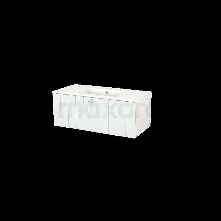 Badkamermeubel 100cm Modulo+ Hoogglans Wit 1 Lade Lamel Wastafel Keramiek