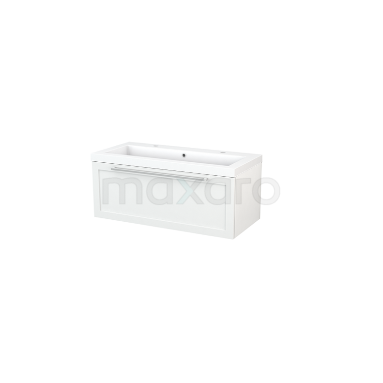 Maxaro Modulo+ BMP001795 Badkamermeubel 100cm Modulo+ Hoogglans Wit 1 Lade Kader Wastafel Mineraalmarmer