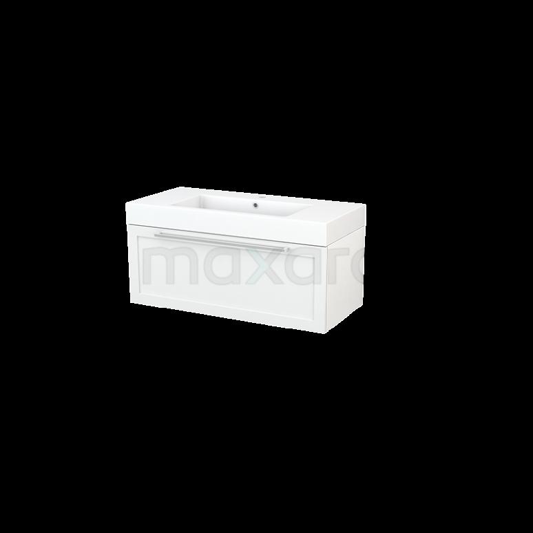 Badkamermeubel 100cm Modulo+ Hoogglans Wit 1 Lade Kader Wastafel Mineraalmarmer