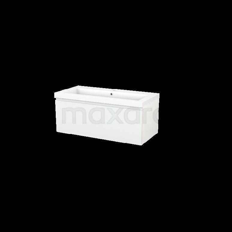 Badkamermeubel 100cm Modulo+ Hoogglans Wit 1 Lade Greeploos Wastafel Mineraalmarmer